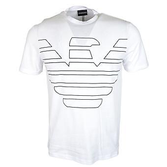 Emporio Armani coton col rond imprimé aigle Logo T-shirt blanc
