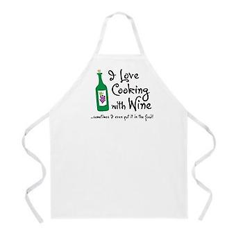 Cocinar con delantal de vino