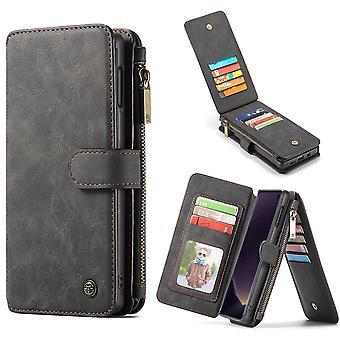 For Samsung Galaxy S10e tilfelle svart lær lommebok avtakbart deksel 14 kortspor