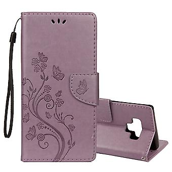 For Galaxy Note 9 Case Purple Embossed Butterfly Pattern Folio Leather Cover