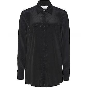 Victoria Beckham Silk Blend Jacquard Logo Split Sleeve Shirt