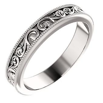 14k White Gold Size 7 4mm Polished Sculptural Relief Pattern Design Band Ring Jewelry Gifts for Women