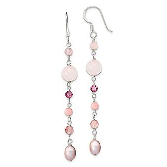 8.5mm 925 Sterling Silver Pnk Fwpearl Cherry Rose Quartz Pnk Dyed Jade Rosaline Shep.hook Earrings Jewelry Gifts for Wom