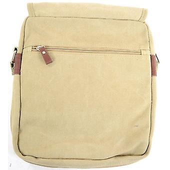 Unisex pratique bandoulière en toile / Messenger Bag - sable kaki