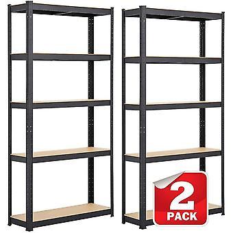 2PCS Garaż Regały 180cm x 90cm x 30cm, 5-warstwowy stojak ciężki do przechowywania metalowych półek użytkowych, czarny
