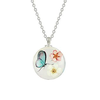 Eternal Collection Eden Flower And Butterfly Aqua/Pink/White Glass Pendant