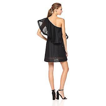Halston Heritage Women's One Shoulder Flounce Stripe Mesh Dress, Black, 4