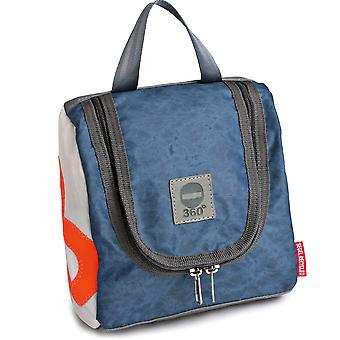 360 degree toiletry bag Sailor XL white and vintage blue canvas