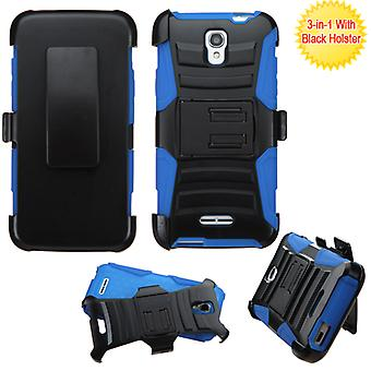 ASMYNA Advanced Armor Stand Case with Holster for Alcatel OneTouch ELEVATE - Black/Blue