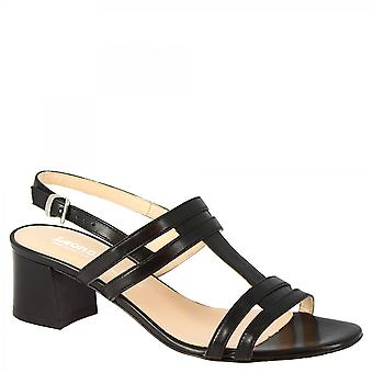 Leonardo Sko Kvinner's håndlagde hæler sandaler i svart kalv skinn med spenne