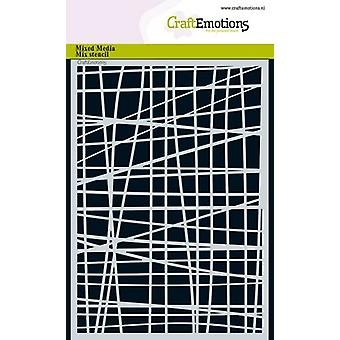 CraftEmotions Masker stencil - lijnen raster onregelmatige A5 A5