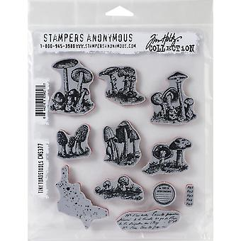 "Tim Holtz Cling Stamps 7""X8.5""-Tiny Toadstools"