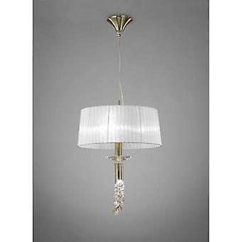 Tiffany Pendant 3+1 Light E27+g9, Antique Brass With White Shade & Clear Crystal