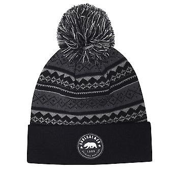 Soulcal Mens Gents Aztec Cosy Soft Warm Knit Hat Bobble Winter Beanie Cap