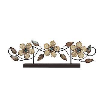 Stemplet træ og metal blomst bordplade