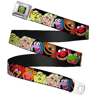 Muppets Character Faces Full Colour Webbing Seatbelt Buckle Belt
