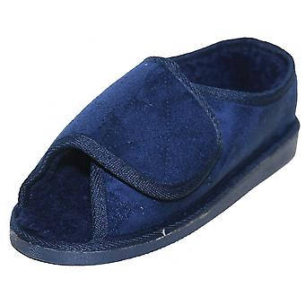 JWF Extra Wide Fit Fur Lined Open Toe Velcro Navy Blue Slippers
