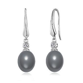 Sterling silver grey pearl drop earrings created with swarovski® crystals