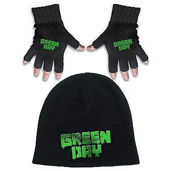 Green Day Beanie Hat and Glove band Logo American Idiot new Official Gift set