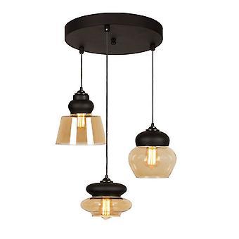Lampe de suspension noire de couleur miel, verre de miel 50x50x108 cm