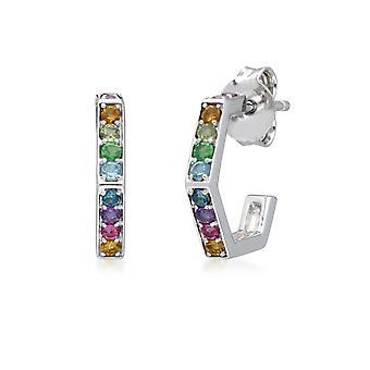 Rainbow Hexagon Hoop Earrings in Sterling Silver 270E032001925