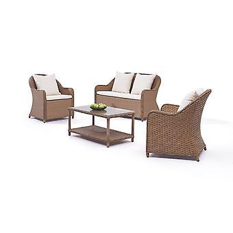Polyrattan Seating groep Kasu 2+1+1 - karamel