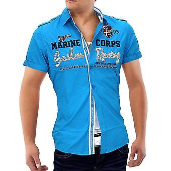 Men's Short Sleeve Cargo breast pocket Vintage Polo Shirt Men's Shirt Cuba Libre