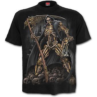 Spiraal-Steampunk skelet-mannen zwart korte mouw t-shirt