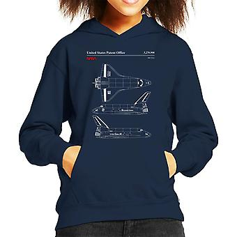 NASA Endeavour Shuttle Top And Side View Blueprint Kid's Hooded Sweatshirt