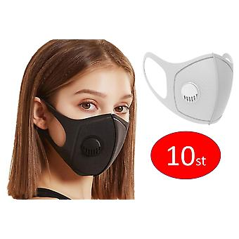 10x Face Mouth Mask with breathing valve, Grey, Washable Reusable
