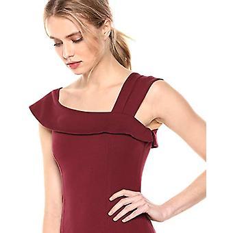 Brand - Lark & Ro Women's Asymmetrical Flounce Neckline Sheath Dress, Deep Wine, 14