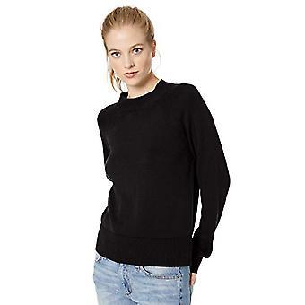 Marka - Daily Ritual Women&s 100% Cotton Mock-Neck Sweter, Czarny, Duży
