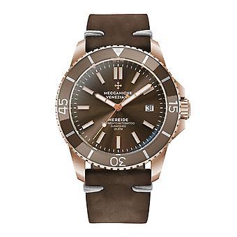 Meccaniche Veneziane 1302016 Nereide Rose Gold Tone Brown Bezel Automatic Wristwatch