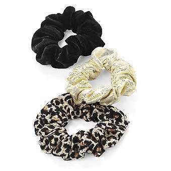 3 Piece Animal Print, Black Velvet Effect and Gold Tone Hair Scrunchie