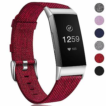 Pour Fitbit Charge 4 3 SE Strap Woven Nylon Bracelet Watch Band Remplacement[Vin rouge]