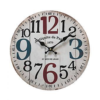 Rebecca Møbler Round Wall Watch Mdf Hvid Lurvet Ophold 33.8x33.8x4