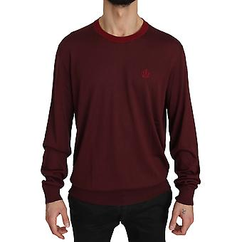 Dolce & Gabbana Maroon Crown Logo Silk Pullover Sweater -- TSH3747120