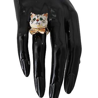 Dolce & Gabbana kulta messinki hartsi valkoinen kissa pet rengas - SMY5504944