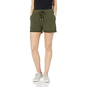Marka - Daily Ritual Women&s Terry Cotton and Modal Roll-Bottom Short, Olive, XX-Large
