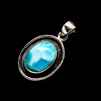 "Larimar Pendant 1 1/4"" (925 Sterling Silver)  - Handmade Boho Vintage Jewelry PD733005"
