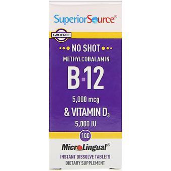 Superior Source, Methylcobalamin B-12 & Vitamin D3, 100 Tablets