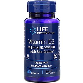 Life Extension, Vitamin D3 with Sea-Iodine, 125 mcg (5,000 IU), 60 Capsules
