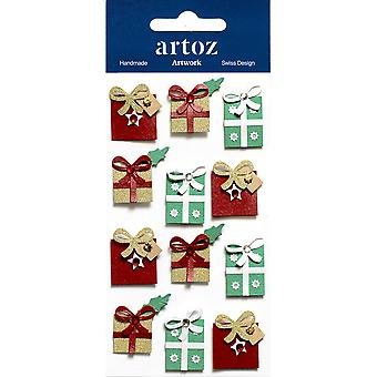 Multi Coloured Christmas Gift Boxes Craft Embellishment By Artoz