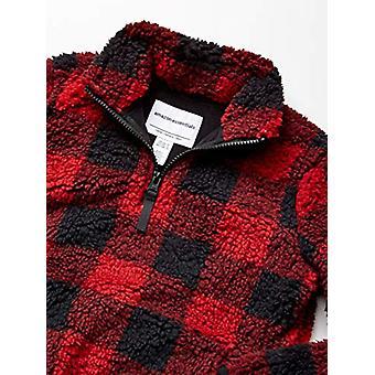 Essentials Girl's Polar Fleece Lined Sherpa Quarter-Zip Jacket, Red Bu...