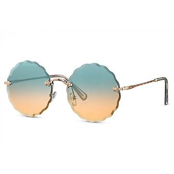 النظارات الشمسية السيدات جولة القط بلا حواف. 2 الذهب / الأزرق / البرتقال