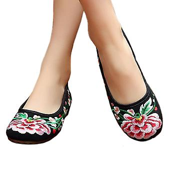 Old Beijing Cloth Embroidered Shoes Plum Blossom