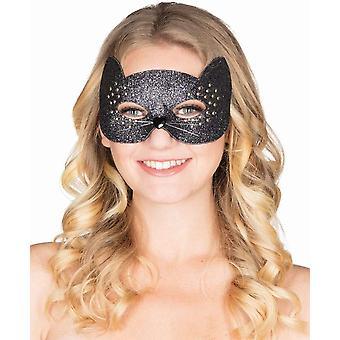 Sexy Kitty Maske Damen Augenmaske Katze Glitzer Nieten Cat Karneval
