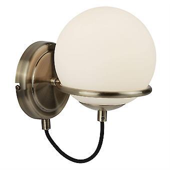 Searchlight Sphere - 1 licht wandlicht wit, antieke messing met glazen schaduw, E14