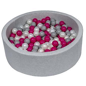 Ball pit 90 cm z 200 kulkami z perły, fioletu i szarości