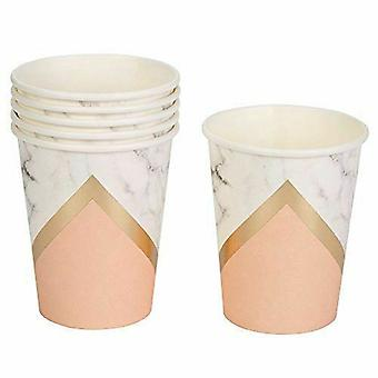 Marble and Peach Paper Party Cups Birthday Party Celebration x 8